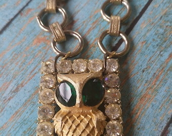 Upcycled owl necklace, repurposed, shabby chic, one of a kind jewelry, owl jewelry, bird, unique