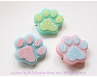 CHOOSE ONE 2WAY Pastel Paw Hair Clip or Badge Pin for Fairy Kei or Kawaii Cute Fashion