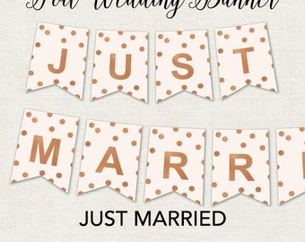 Just Married Wedding Banner - Just Married Wedding Sign - Gold Wedding Decorations - Silver Wedding Decorations - Rose Gold Wedding