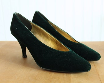 Green Velvet Nina Pointed Toe Heels Pumps 8.5