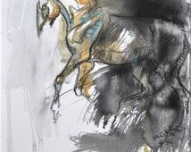 Horse Art, Animal, Modern & Contemporary Original Fine Art, Watercolor, Pastels and Black Chalk Painting of Canter Horse