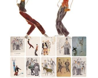 "F. Bogorodsky ""Circus"". Complete Set of 13 Postcards in original cover -- 1974"