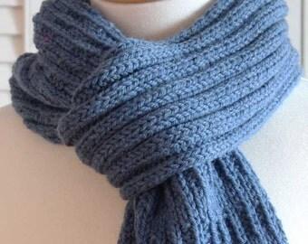 Knitting Pattern Scarf,  Blue Denim Wool