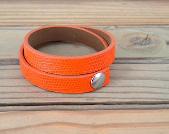 Double Wrap Cuff Bracelet Orange - Size LARGE