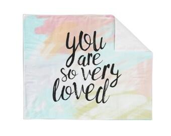 So Loved Pastels Crib Blanket - Baby Blanket - Minky Blanket - Neutral Blanket - Modern Baby Blanket - Pastel Blanket - Bedding