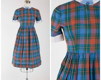 Vintage 1950s Dress • Forever Always • Plaid Orange Blue Cotton Early 50s Day Dress with Collar Size Small