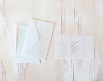 "Glassine Mini Note Envelopes - 10 pc / 25 pc / 50 pc - 2.25"" x 3.625"""