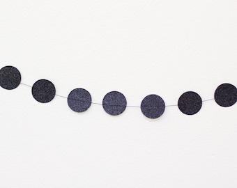 Black Glitter Mini Circle Garland - 8 feet with 32 Circles