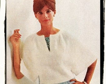 Instant Download PDF Knitting Pattern to make a Short Poncho Shoulder Cape Wedding or Evening Shrug One Size fits 36 to 38 inch bust