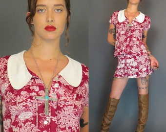 vintage 70s burgundy floral blouse and skirt set // mini skirt // boho top // hippie // festival