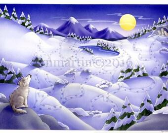 ORIGINAL PAINTING Arctic Wolf maze