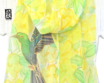 Bird Scarf, Silk Scarf Hand painted, ETSY ASAP, Golden Hummingbird and Yellow Jasmine Floral Scarf, Chiffon Scarf, 11x60 inches.
