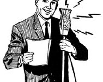 Announcer Man Microphone Radio Broadcast - Digital Image - Vintage Art Illustration