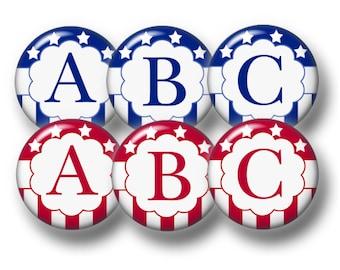 Alphabet, Digital Collage Art Sheet, Bottle Cap Images, Red, Blue. Stars, Stripes, 1 Inch Circles, Instant Download, Printable Collage Sheet