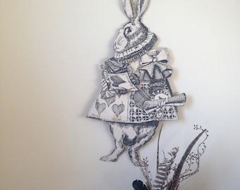 Vtg Art Bevacqua Alice in Wonderland White Rabbit Cardboard Cut Out