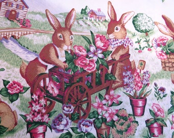 Easter Bunny Bunnies Tablecloth - Round - Beatrix Potter Style - Flower Garden - Easter Decor Decoration - Collectible - Gift