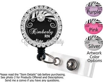 Personalized Bling Retractable ID Badge Holder, Zebra Bling, Choice of Bling Badge Reel, Lanyard, Carabiner, Steth ID Tag, Littmann III