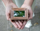 Rustic Wedding Box Glass Ring Bearer Box Еngagement box Artificial Grass Ring Box Proposal Box Ring Bearer Box Wedding Ring Holder  Ring Box