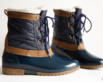 Vintage Thermolite Duck Boots Women's Size 7 Snug Winter Snow Boots Blue Brown Ankle Boots
