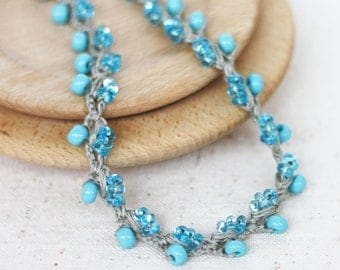Crochet beaded necklace Blue gray Boho chic Rustic Bohemain jewelry Handcrafted artisan linen necklace Summer fashion Gift for her