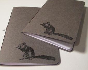 Chipmunk Pocket Notebooks: Set of Two Brown and Black Embossed Small Journals Cahier