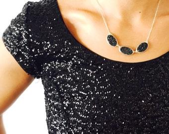 Triple Druzy Statement Necklace in Midnight Black