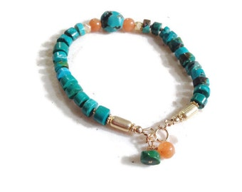 Turquoise Bracelet - Turquoise Jewelry - Gold Jewelry - Orange Carnelian Gemstone Jewellery - Fashion - Beaded