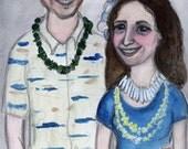 Custom Portrait Painting, Couple illustration, Painting Commission, Custom Family Art, Original Watercolor