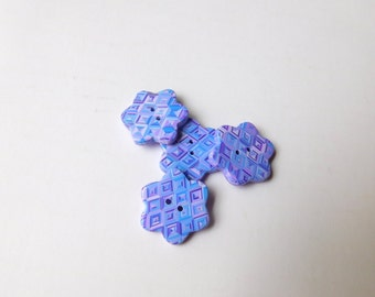 Polymer Clay Buttons, flower shape, 7/8 inch buttons, blue and purple buttons