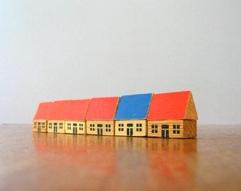Vintage German Wooden Toy House / Barn / Schoolhouse / Village Set