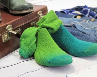 Knitted Wool socks - Hand Made Shades of Green from fresh oak to racing car Green VIRGIN MERINO winter socks Hipster MENS socks. Large size.