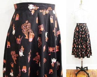Vintage 1950s Skirt | Atomic Carnival 1950s Novelty Print Skirt | size small | 5SK001