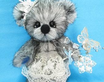 OOAK silver fox faux fur dressed artist bear, Silvia by YuYu Bear