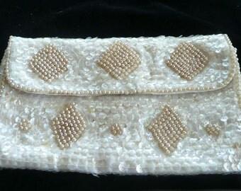 Evening Bag Sequins Pearl Beading by La Regale Creamy White Retro