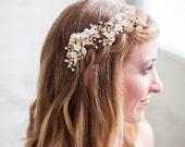 Gold Flower Headpiece, Ivory Flower Hair Vine, Hair Clips, Flower Headpiece, Bridal Accessories, Gold Hair Clip, Wedding Clip, Bridal hair