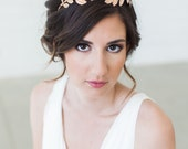 Rose Gold Grecian crown, Gilded leaves headband, Rose Gold hair vine, boho bridal headpiece, Boho Bridal Headband, Leaves Headband
