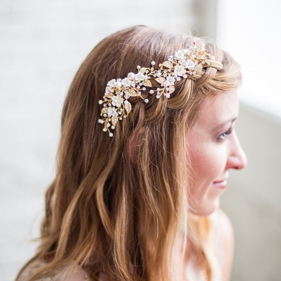 FREE SHIPPING, Wedding Hairpiece, Bridal Headpiece, Gold Flower Headpiece, Ivory Flower Hair Vine, Gold Bridal Hair Clip, Wedding Hair Clip