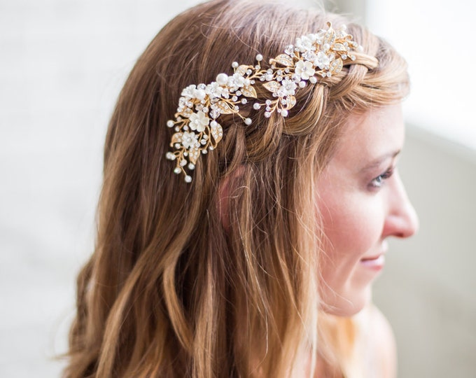 Gold Flower Headpiece, Ivory Flower Hair Vine, Hair Clips, Flower Headpiece, Bridal Accessories, Gold Hair Clip, Wedding Clip, Bridal hair