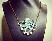 Turquoise Octopus with Pearls Necklace - Vintage Bronze with Patina - Steampunk Necklace - Steam Punk Jewelry - Solid Brass