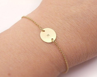 Gold Monogram Personalized Initial Circle Bracelet  - For Her, Mother gift, Anniversary, Wedding Bridesmaid Gift, Dainty Delicate Jewelry