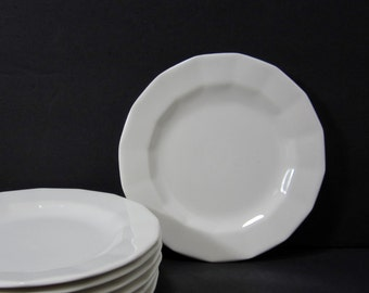 """White Ironstone Bread and Butter Plates Set of 7,  6.5"""" Diameter Made in U.S.A. Vintage Wedding Plates"""