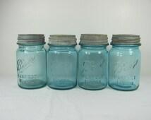 Vintage BLUE BALL Canning Jar PINT Set/4 Circa 1900s  Milkglass Zinc Lid Perfect Mason