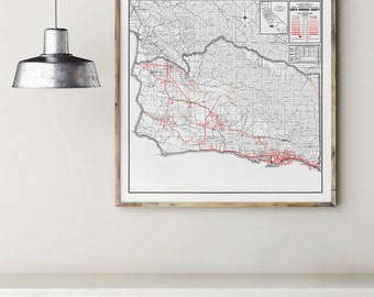 Santa Barbara County, California Map, Fine Art Print, Premium Canvas Gallery Wrap