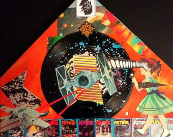 "SPACE FIGHT ""FUTURE"" Vinyl Record Collage"