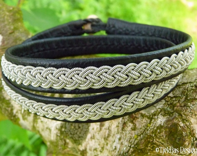 Black Leather Wrap Bracelet ASGARD Unisex Viking Jewelry in Sami style  | Handcrafted Nordic Natural Elegance