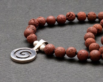 Greek Spiral Necklace, Lava and Silver Unisex Necklace, Red/Brown Stone Minimalist Beaded Necklace, Santorini Lava Jewelry, Greek Jewelry