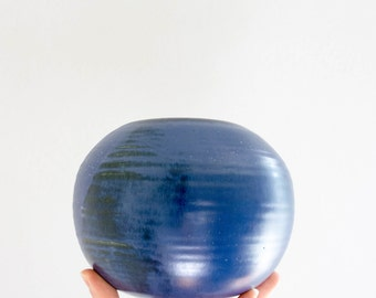 Vintage Blue Studio Pottery Vase // Mid Century Modern Globe Vase