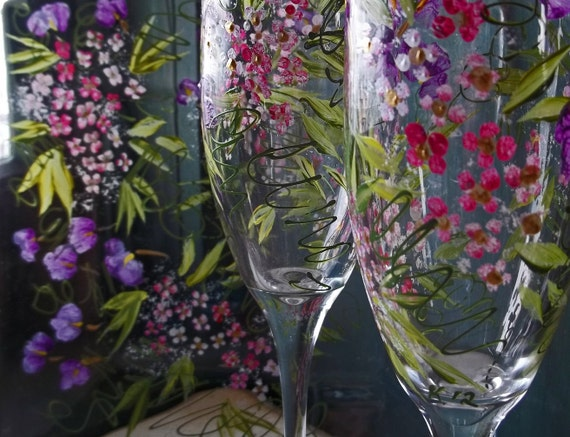 ROMANTIC GARDEN 2 Champagne Flutes & Plate Handpainted