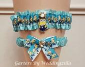 Aqua Minions Wedding Garter Set,  Minions Bridal Garter, Minion Wedding Garter, Despicable Me, Geekery