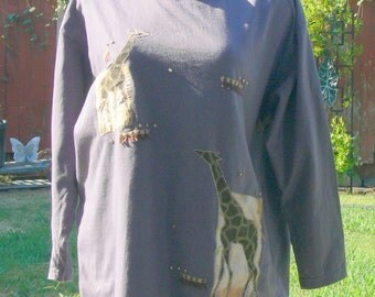 gray giraffe cotton long sleeve tee shirt size large